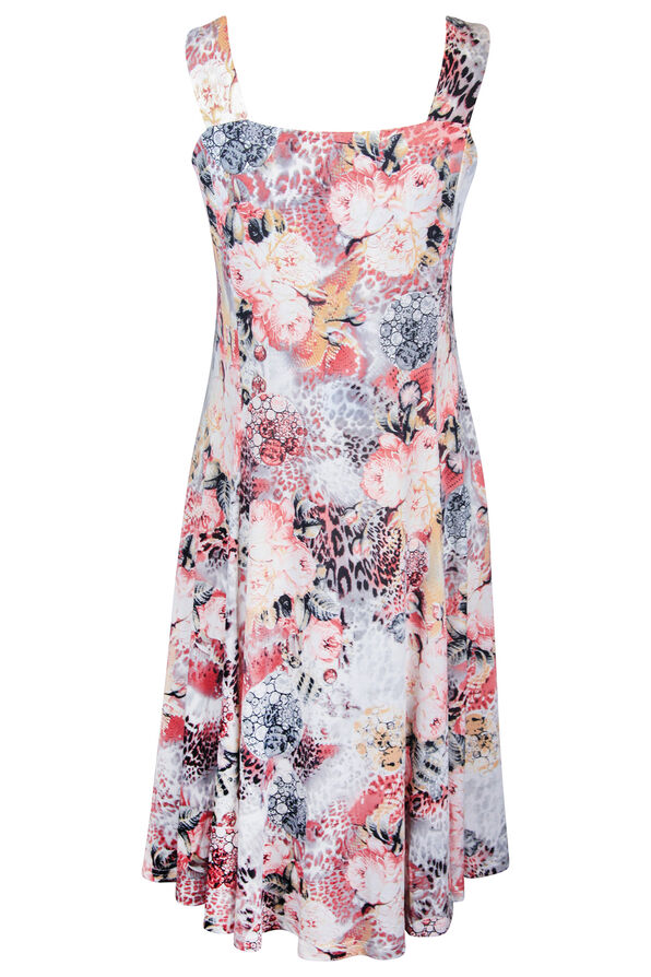 Floral Animal Print Fit and Flare Midi Dress, Pink, original image number 1