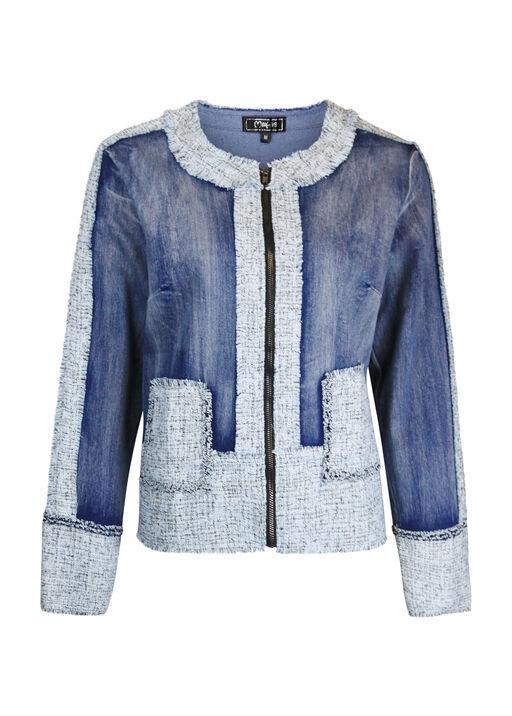 Tweed Trimmed Denim Jacket, Denim, original