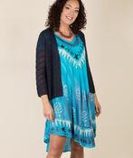 Short Sleeve Embroidered Trim Swing Dress, Turquoise, original image number 4