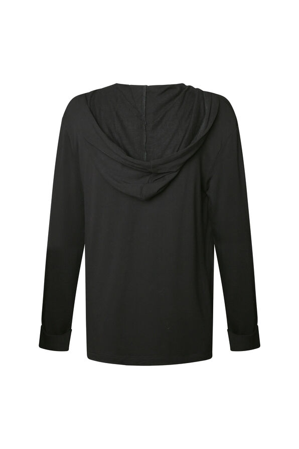 Lounge Cardigan with Hood, Black, original image number 1