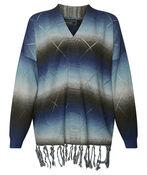 Long Sweater with Fringe, Blue, original image number 0