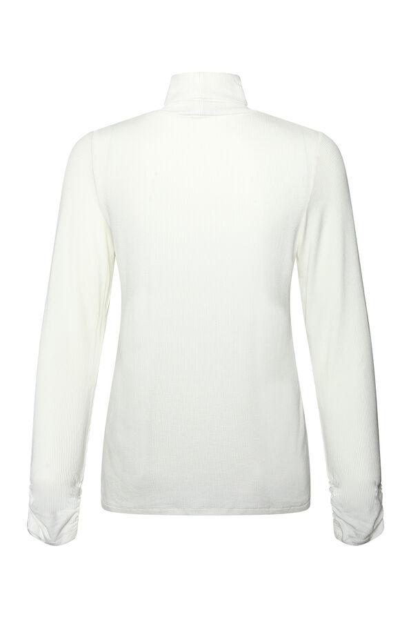 Ruched-sleeve Ribbed Turtleneck , Cream, original image number 1
