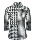 Houndstooth Mock Neck 3/4 Sleeve, Black, original image number 0