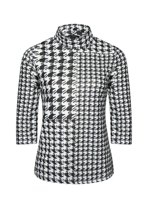 Houndstooth Mock Neck 3/4 Sleeve, , original