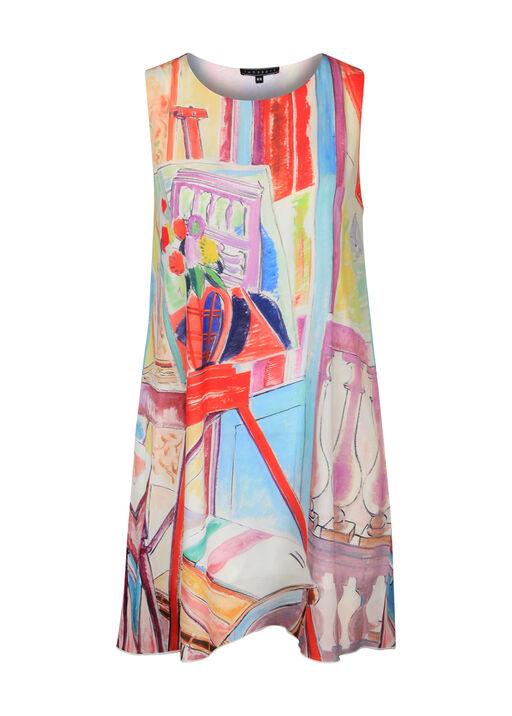 Sleeveless Tunic with Painting Print , Multi, original
