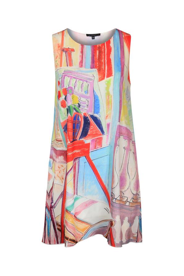 Sleeveless Tunic with Painting Print , Multi, original image number 0