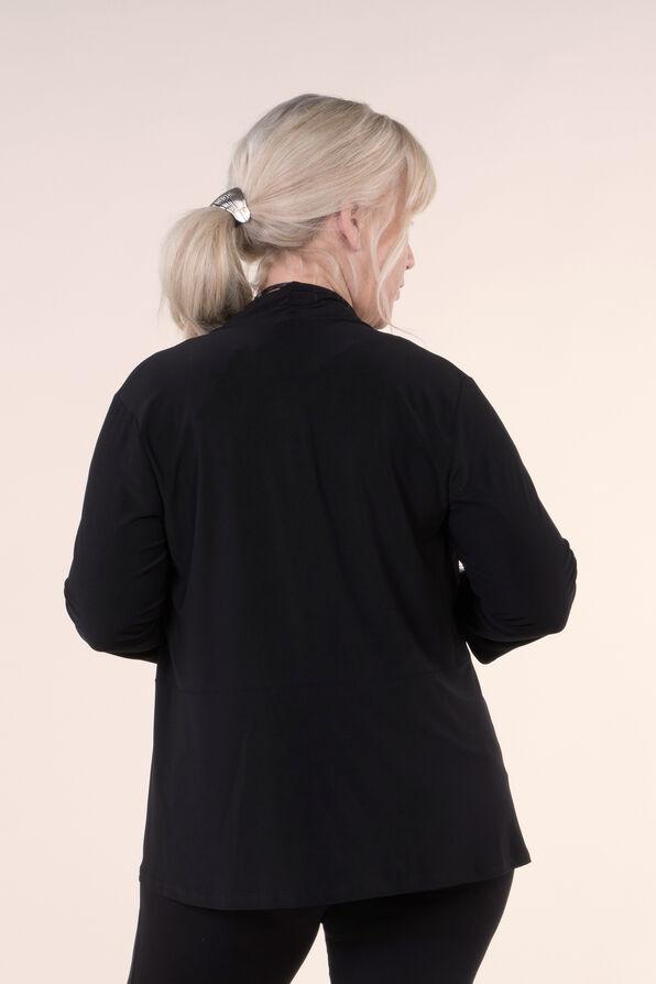3/4 Sleeve Solid Knit Jacket, Black, original image number 2