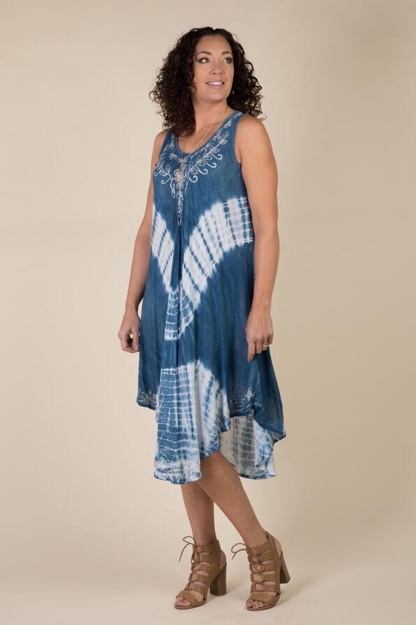 Sleeveless Embroidered Neckline Tie Dye Dress, Denim, original image number 4