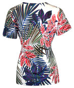 Tropical Print Short Sleeve Top with Notch Neck, Ivory, original image number 1