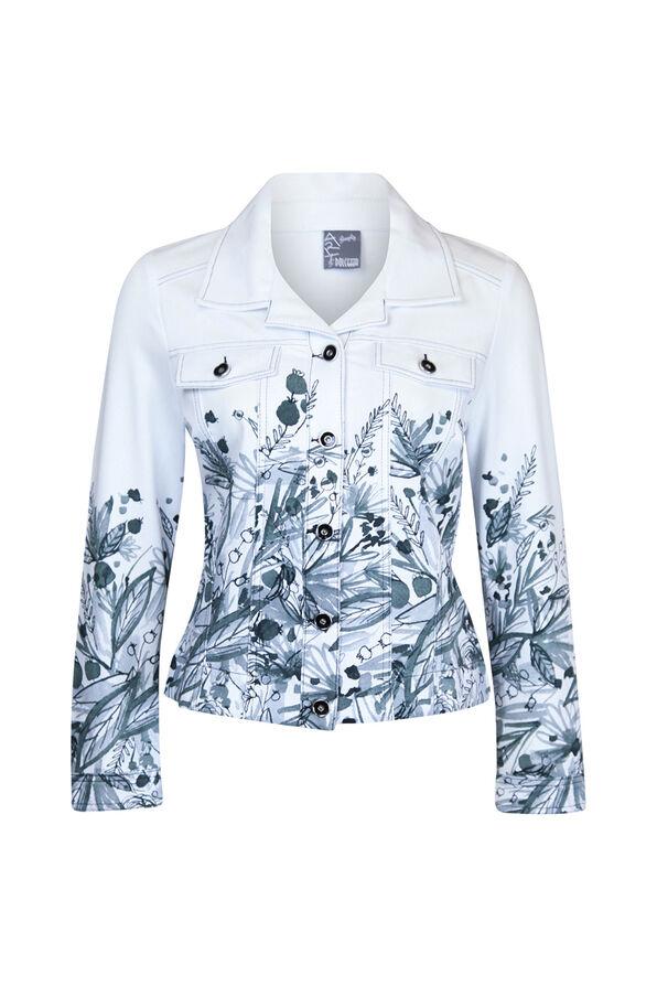 Printed Cotton Jacket, Grey, original image number 0