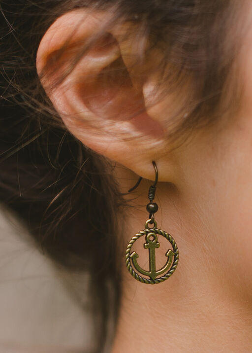 Rope Anchor Earring, Gold, original