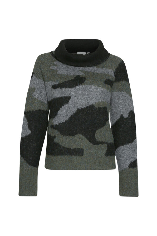 Camo Funnel Neck Sweater, , original image number 0