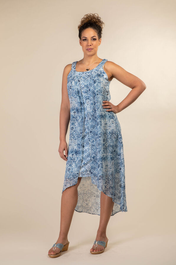 Athena Layered Dress, Denim, original image number 0