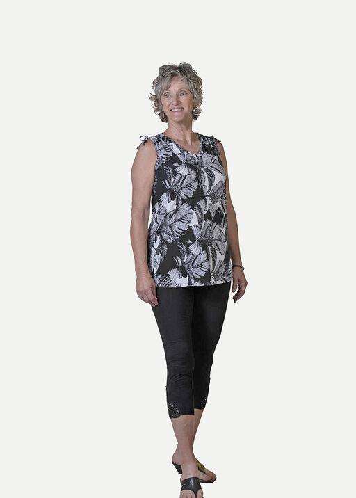 Leaf Print Sleeveless Top With Ruche Shoulders, Black, original
