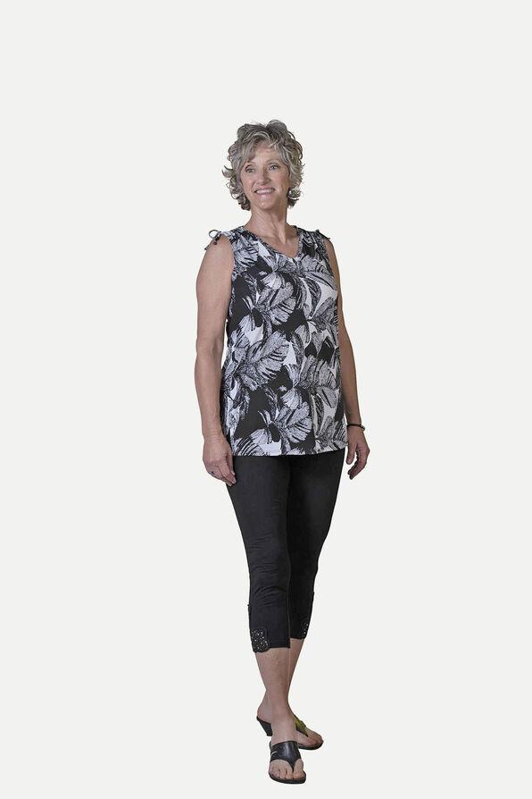 Leaf Print Sleeveless Top With Ruche Shoulders, Black, original image number 1