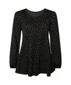 Dalmatian Print Peasant Blouse, Black, original image number 0