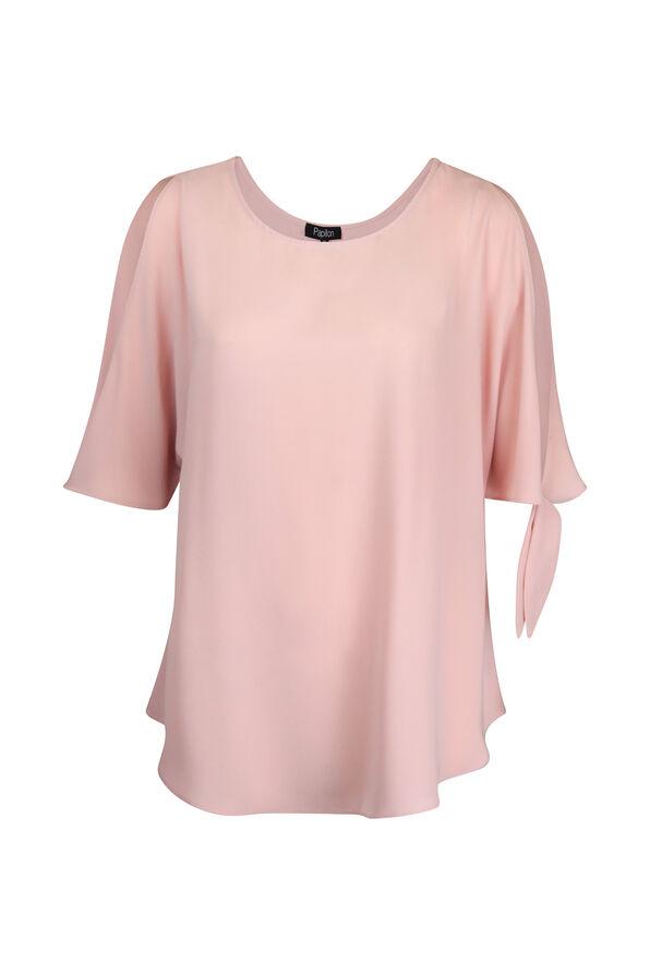 Short Sleeve Cold Shoulder Blouse with Ties, Pink, original image number 1