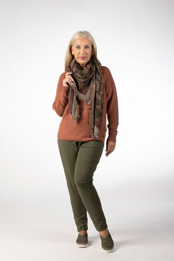 Taper Drawstring Knit Pants, Olive, original image number 0