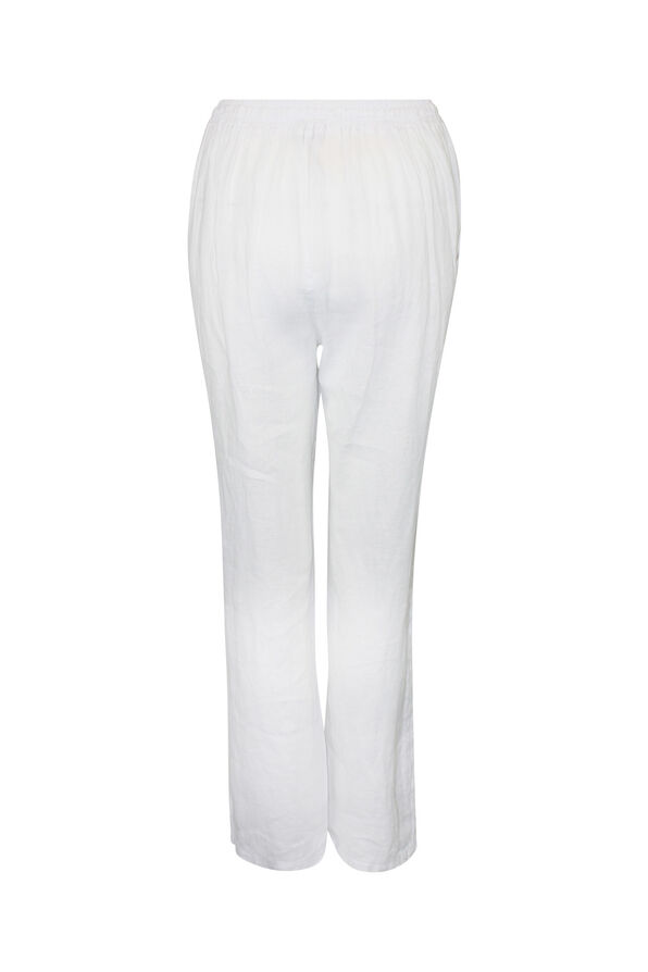 Pull-On Linen Pants with Drawstring , White, original image number 1