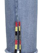 Embellished Cut-Off Cropped Wide Leg Jean, Blue, original image number 5