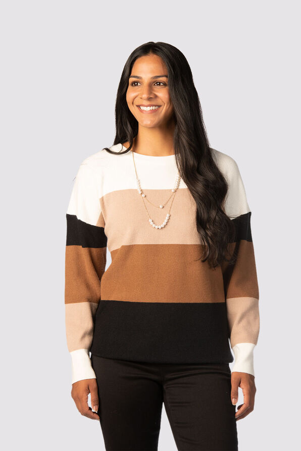 Plush Colorblock Sweater, Multi, original image number 0