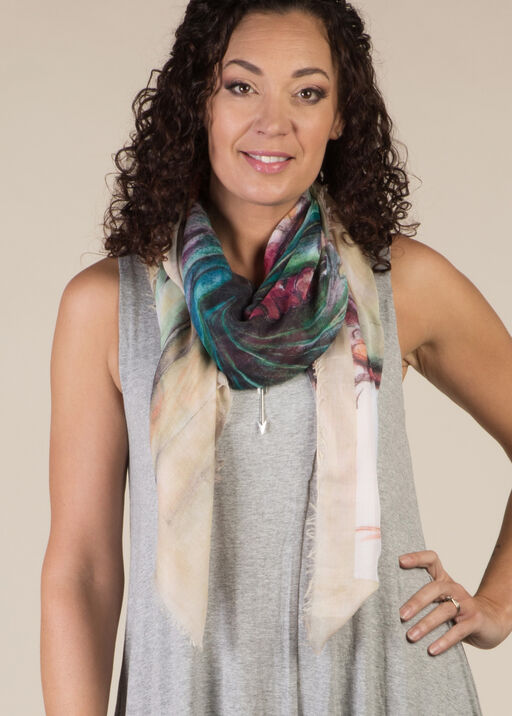 Butterfly Print Square Scarf, Beige, original