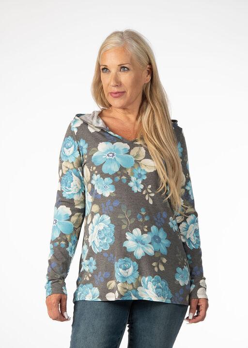 Floral V-Neck Hoodie, Blue, original