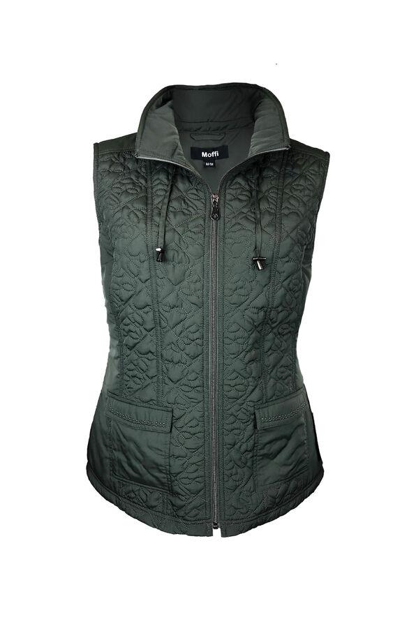 Quilted Heart Vest with Studded Pockets, , original image number 2