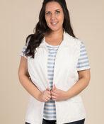 Zip Front Vest, White, original image number 0