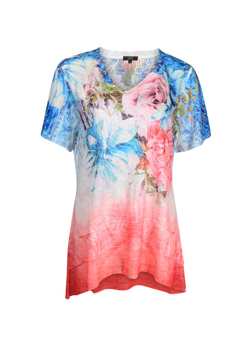 Tiered Printed Short Sleeve Top, Pink, original