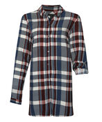 Plaid Button-down Tunic, Navy, original image number 0