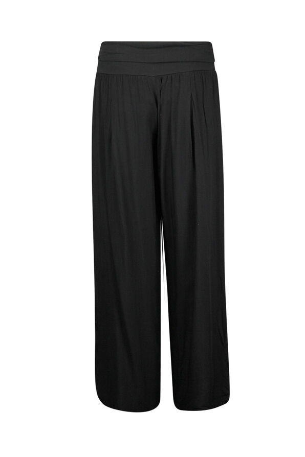 Wide Leg Ankle Pant with Fold Over Waist, Black, original image number 1