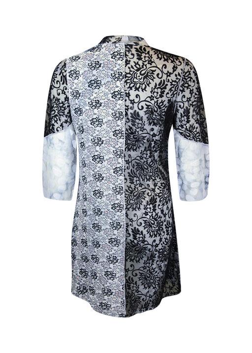 Mixed Media Cardigan 3/4 Sleeves, Black, original