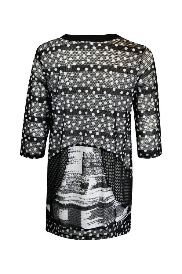 Mesh Overlay Polka Dot 3/4 Sleeve Top, Black, original image number 1