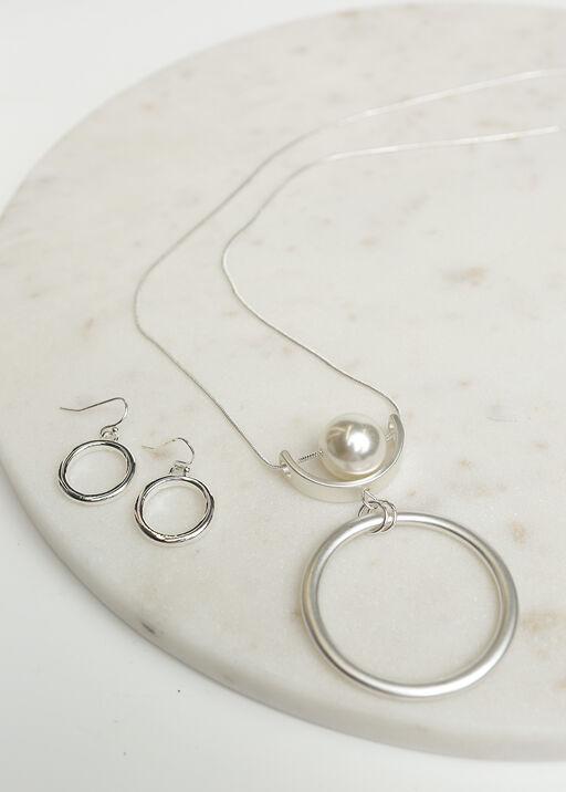 Classic Circle Pendant Necklace Set, Silver, original