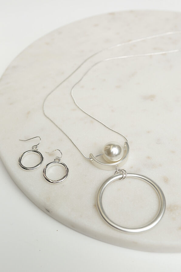 Classic Circle Pendant Necklace Set, Silver, original image number 1