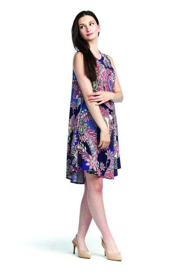 Sleeveless Paisley Swing Dress, Multi, original image number 0