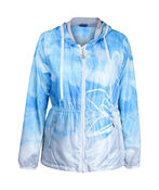 Hooded Windbreaker Jacket with Drawstring Waist, Turquoise, original image number 0