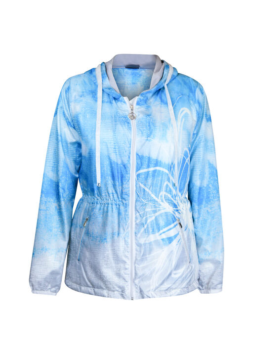 Hooded Windbreaker Jacket with Drawstring Waist, Turquoise, original