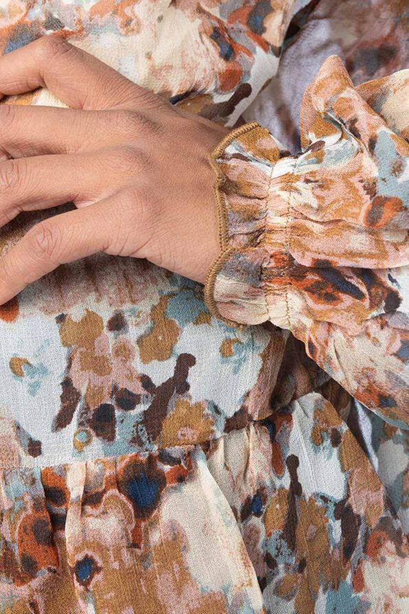 Tassle-Floral 70's Blouse, Brown, original image number 4