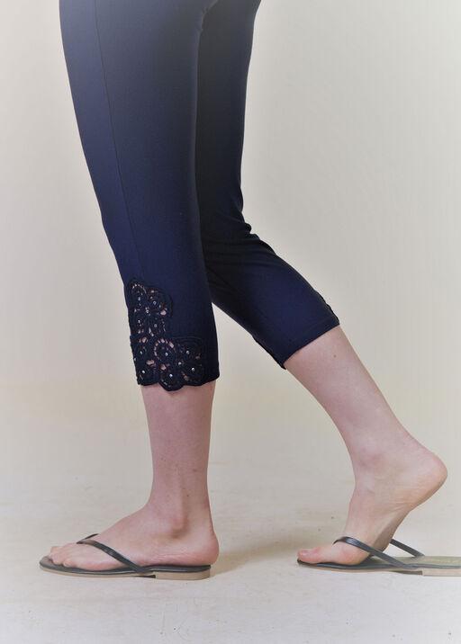 Lace and Rhinestone Bamboo Capri Legging, Navy, original