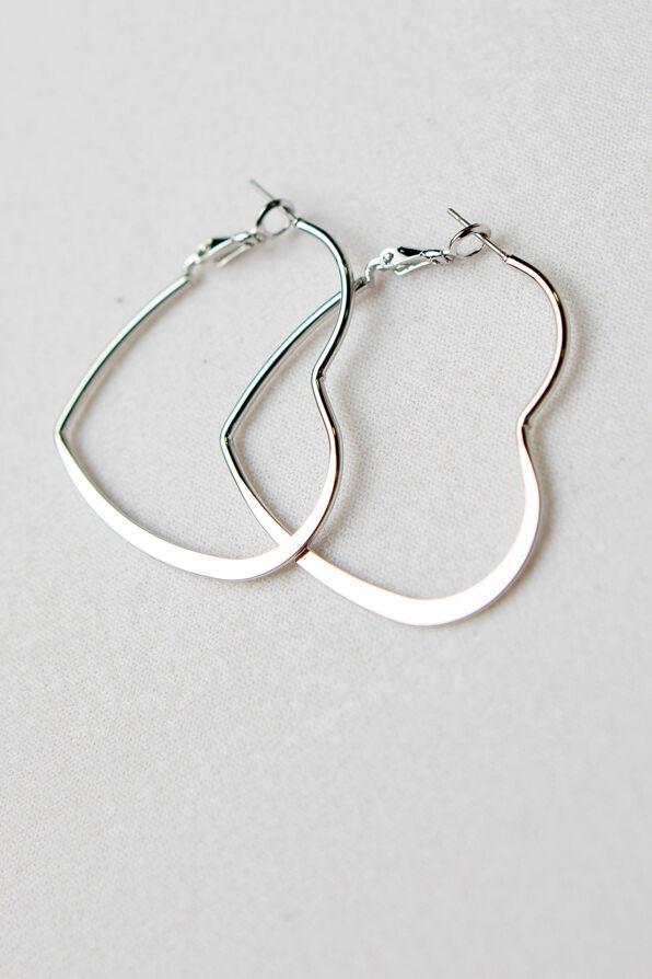 Heart Hoop Earrings, Silver, original image number 1