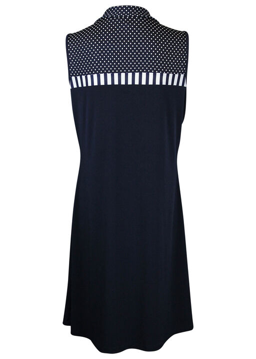 Fit and Flare Dress with Mid-Zip and Collar, Navy, original