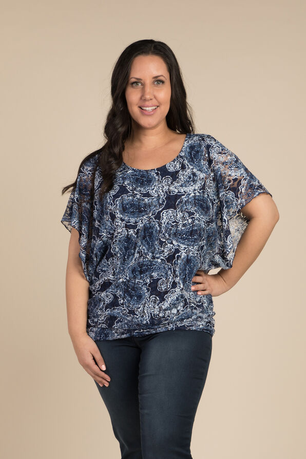 Lace and Paisley Top, Navy, original image number 0