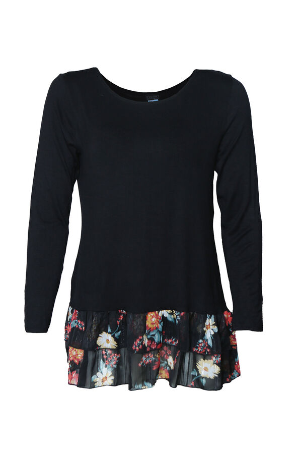 Solid Top with Printed Ruffle Hem, Black, original image number 0