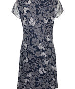 Mesh Flutter Sleeve Dress with Front Tie, Navy, original image number 1