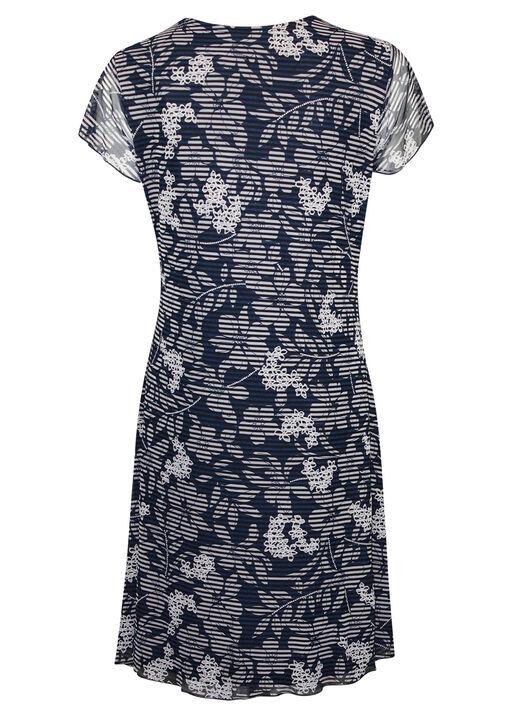Mesh Flutter Sleeve Dress with Front Tie, Navy, original
