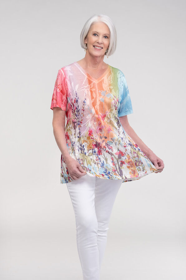 Fit and Flare Burnout T-Shirt, Multi, original image number 1