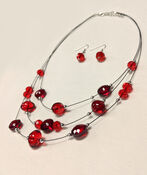 Beaded Necklace, Red, original image number 0