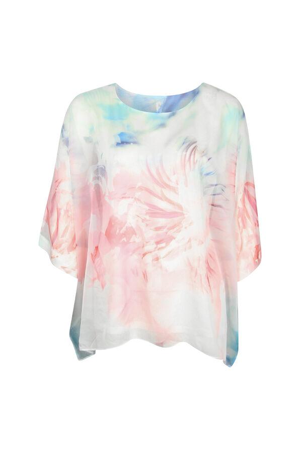 Chiffon Overlay 3/4 Sleeve Blouse, Pink, original image number 0